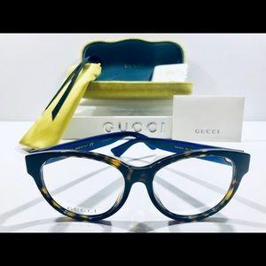 Gucci Eyeglasses Havana Brown w/ Blue-Red Frame 54